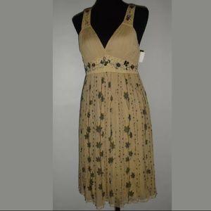 Blank London Beige Floral Silk Beaded Dress M